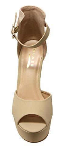 Glassa Fiesta-1 Piattaforma Donna Peep Toe Snake Texture Dorsay Cinturino Alla Caviglia Chiusura Posteriore Tacco Alto Pumps Nude