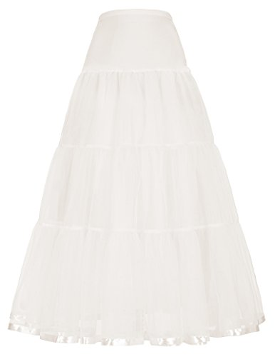 Beige Floor-Length Slip Petticoat for Bridal Dress (S, Ivory)