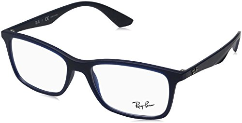 Ray-Ban RX7047 Rectangular Eyeglass Frames, Matte Transparent Blue/Demo Lens, 56 ()