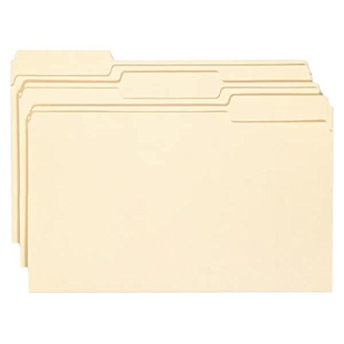 TableTop King 15338 Legal Size File Folder with Antimicrobial Protection - Standard Height with 1/3 Cut Assorted Tab, Manila - 100/Box