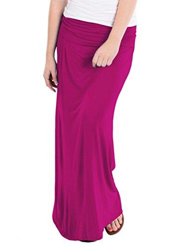 - HyBrid & Company Women's Maxi Skirt W/Fold Over Waist Band KSK3097EC Magenta L