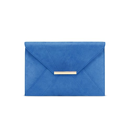 Clutch Purse,GESSY Ladies Envelope Clutch Evening Bag with Removable Chain Strap Wedding Prom Party Magnet Hook Faux Suede Handbag Purse with Pockets Soild Pure Color Shoulder Bags Blue