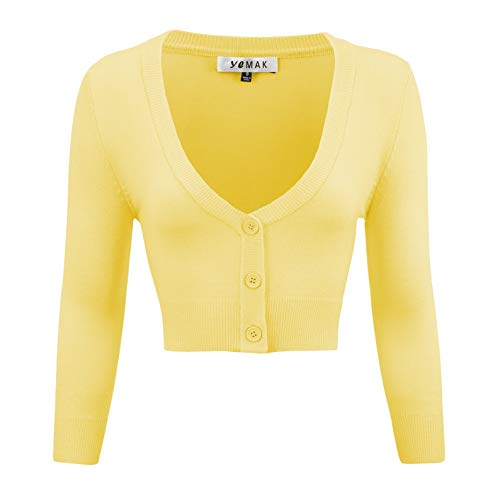 YEMAK Women's Cropped 3/4 Sleeves Cardigan Sweater Vintage Inspired Pinup,Baby Yellow,Small ()