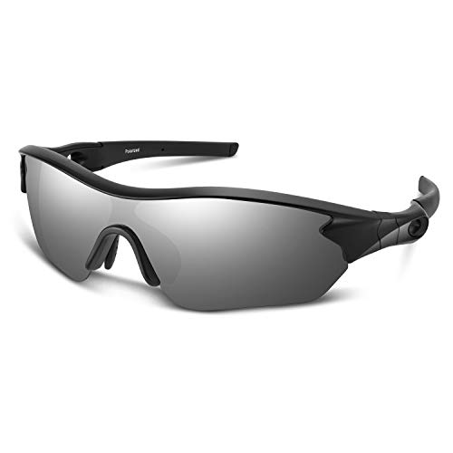 Polarized Sunglasses for Men Women Youth Sports Baseball Running Fishing Safety Military Motorcycle Tac  (Black Sliver)