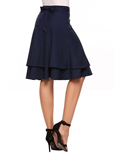 Chigant Women's High Waisted Vintage Midi Skirts Double Layer Skirts With Belt And Buckle
