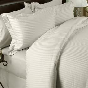 Luxurious SEVEN (7) Piece Set, CREAM Damask Stripe, CAL KING Size, 4pc BED SHEET SET & 3pc DUVET SET, 1500 Thread Count Ultra Soft Single-Ply 100% Egyptian Cotton, 1500TC Sheet & Duvet Set includes Two (2) Shams & TWO (2) Pillow Cases
