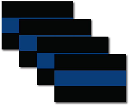 Thin Blue Line Magnet Decal Heavy Duty for Car Truck SUV 4 PK in Support of Police and Law Enforcement Officers