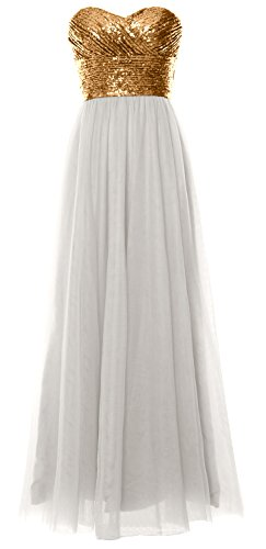 MACloth Women Long Bridesmaid Dress Strapless Sequin Wedding Party Formal Gown Gold-Ivory