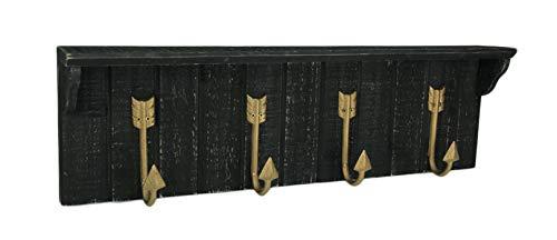 Premier Home Imports Decorative Slat Wood Wall Shelf with Curved Arrow Hooks