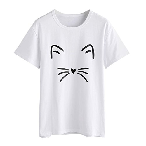 haoricu Women Blouse Summer Fashion Cat Print Tee Basic Crop Top Casual Loose Short Sleeve T-Shirt White