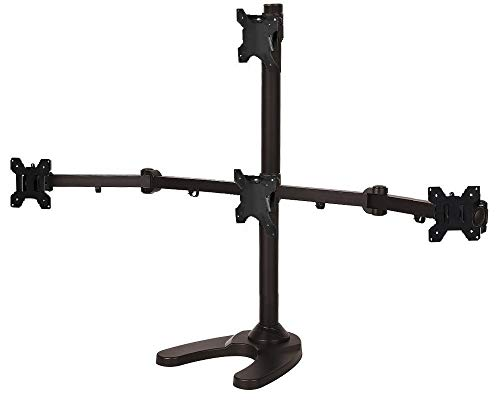 EZM Articulating Pyramid 1 Over 3 Quad Monitor Mount Stand Free Standing with Grommet Mount Option up to 24