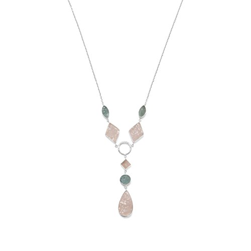 Sterling Silver Aquamarine and Rose Quartz Drop Necklace 34117
