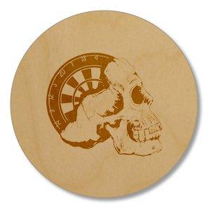 6 x Half Skull With Dartboard 95mm x 3mm Circle Coasters