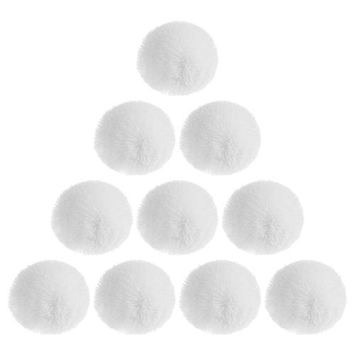 BCP 10pcs White Color Artificial Rabbit Fur Pom Pom Ball for Handbag Pendant Key Ring Decoration (2-3/4inch) - Fur Christmas Ornaments