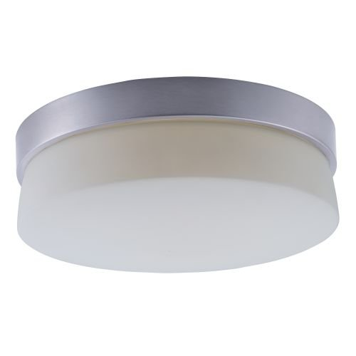 Maxim 55564SWSS Flux LED Flush Mount, Satin Silver Finish, Satin White Glass, PCB LED Bulb , 0.36W Max., Damp Safety Rating, Shade Material, Rated Lumens