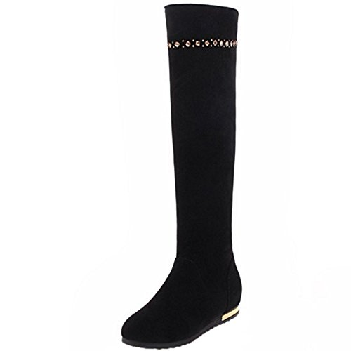 Women Boots Pull On TAOFFEN Hidden Black Heel wqBCxdx5