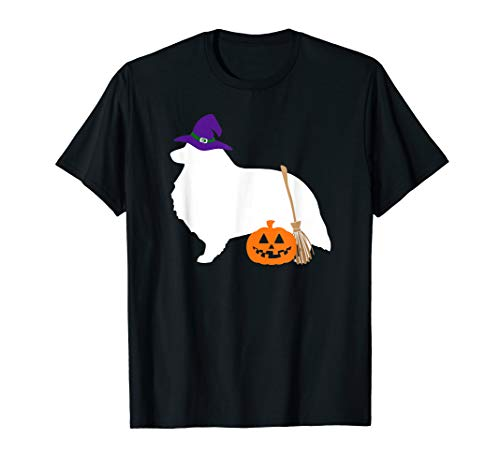 Sheltie Shetland Sheepdog Witch Hat Halloween Dog T-Shirt