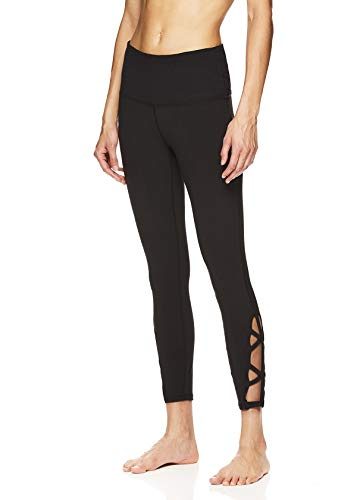 - Gaiam Women's Om High Rise Waist Yoga Pants - Performance Spandex Compression Leggings - Black Emery Tap, X-Large
