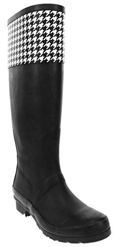London Fog Womens Thames Rain Boot Black Houndstooth 11 M US