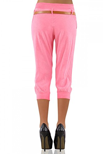 Danaest 276 - Pantalones chinos capri para mujer, incluye cinturón Rosa