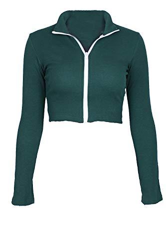 La A Cerniera Zamtapary Lunghe Maniche Green Attillata Occasionale Giacca Maglietta Le Donne Outwear Sottili tqqwEY