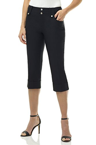 Black Cuff Pants (Rekucci Women's Ease in to Comfort Fit Modern Classic Cuffed Capri (16,Black))