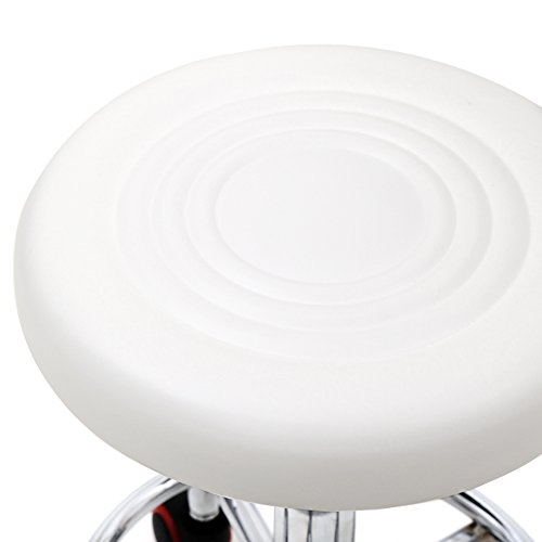 Binlin Bar Stools,Adjustable Rotating Chair with Back and Line Counter Height Swivel Barstool Rolling Footrest Round Pu Leather Seat For Pub Hydraulic Kitchen Barber Shop Office Home Spa Salon,White (Bar Height Footrest)