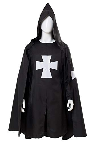 Adult Halloween Medieval Costume Robe Knights Templar Costume Cloak Hospitaller Tunic Cloak Cape with Maltese Cross ,Large ()