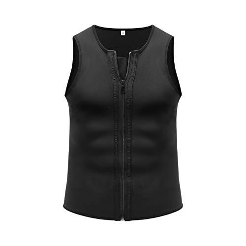 MELERIO Men Waist Trimmer Vest for Weightloss Hot Neoprene Corset Body Shaper Zipper(XL Black)