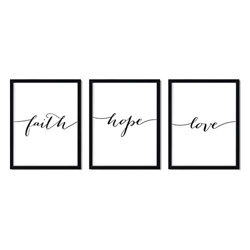 Andaz Press Unframed Black White Wall Art Decor Poster Print, Bible Verses, Faith Hope Love, 3-Pack, Unique Christian Christmas Birthday Gift for Him Her New Home
