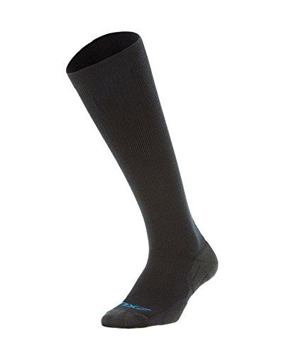 2XU Men's 24/7 Graduated Compression Socks, Black/Black, Large
