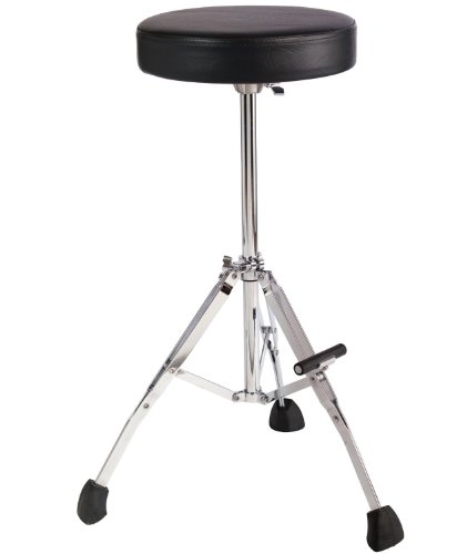 Gibraltar GGS10T Tall 27'' Stool with Round Seat, Fold Up Tripod with Foot Rest by Gibraltar