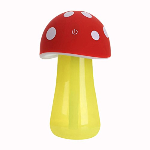 Misaky Cute Mushroom Cartoon Night Light for Kid Bedroom Home Aroma LED Humidifier Mushroom Air Diffuser Purifier Atomizer Multifunction Humidifier (Red) (E Cigarette Pot)
