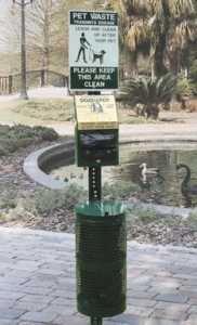 DOGIPOT 1003-L Pet Station Includes Sign, Dispenser, Steel Receptacle, Litter Bag Rolls and Liner Trash Bags, Forest Green