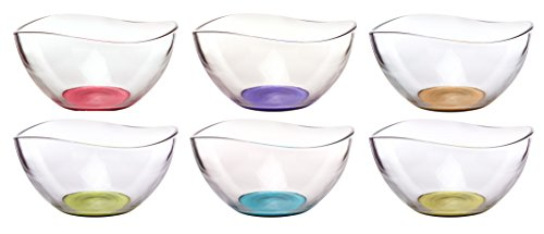"Mini Colored Glass Wavy Serving/Prep Bowls, 10 1/2 Ounce, Set of 6 - 5"" x 5"" x 2.5"" each"