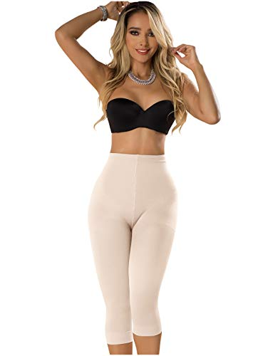 Laty Rose Women Bodywear Slimmer Booty Lifter Undetectable Tummy Leg Body Control Slimming Shapewear Body Shaper Seamless Capri Legging Fajas Beige XL