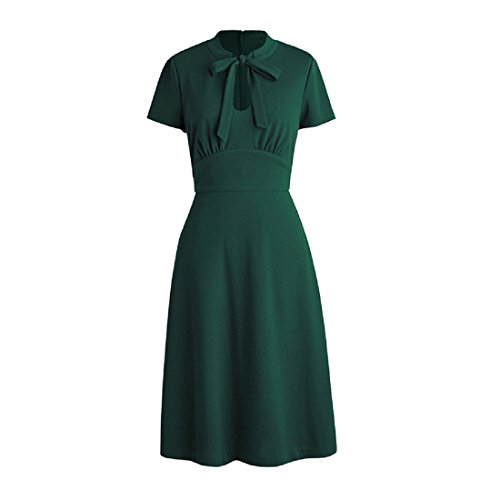 Ez-sofei Women's Vintage 1940s Open Chest Cocktail Swing Dresses M Teal Green