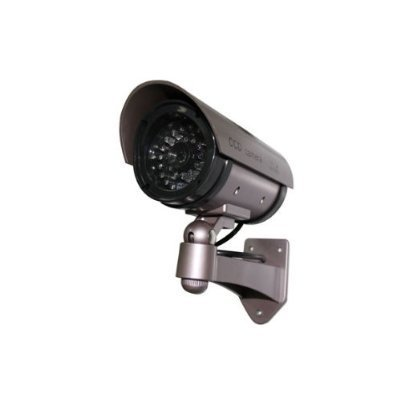 Outdoor Fake/Dummy Security Camera with Blinking Light (Color: Dark Grey with hues of Purple) ()
