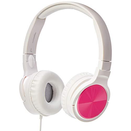 AmazonBasics Lightweight On-Ear Headphones – Pink