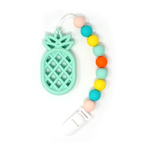 Meerkatto Silicone Pineapple Teether with Pacifier Clip (Mint)