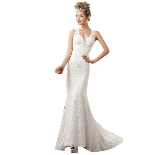 Sweep Wedding V Neck Mermaid TrainLace Women's Dresses Trumpet White Brush Dearta XwOqpU8aW