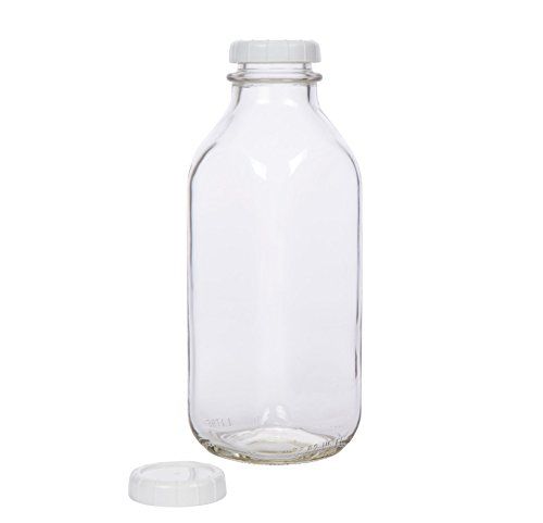 Glass Milk Bottle - USA Made 33.8 oz Jug with Extra Lid (Glass Decanter Bottle)