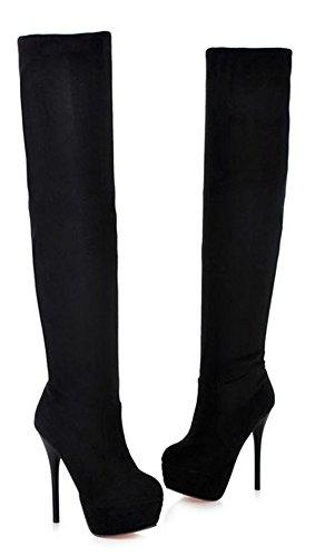 Aisun Kvinners Sexy Stiletto Høy Hæl Elastisk Løpet Knee Boots Black