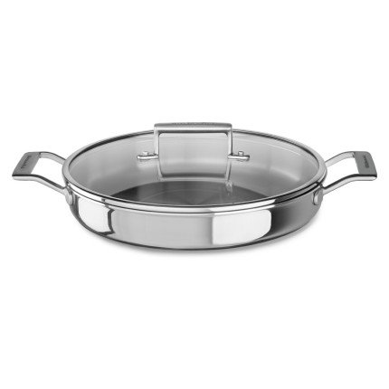 KitchenAid KC2T35BRST Tri-Ply Stainless Steel 3.5 quart Braiser with Lid - Stainless Steel, Medium, Stainless Steel Finish by KitchenAid