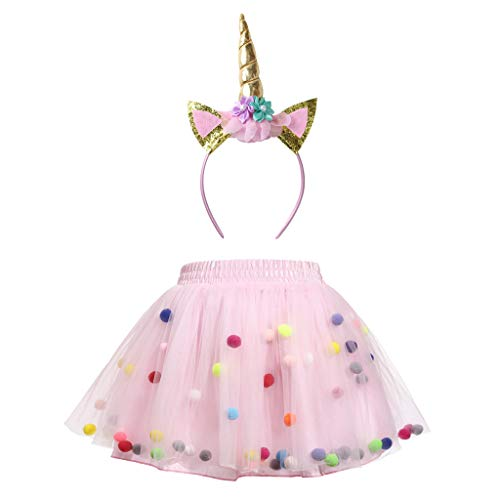Meeyou Little Girls' 3 Layers Tutu Skirt with 3D Pom Pom Puff Balls (5-6 Tall, Pink Tutu with Unicorn ()