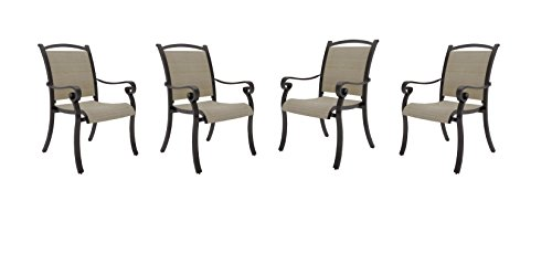 Ashley Furniture Signature Design – Bass Lake Outdoor Sling Chair – Set of 4 – Rust Proof Aluminum – Beige & Brown