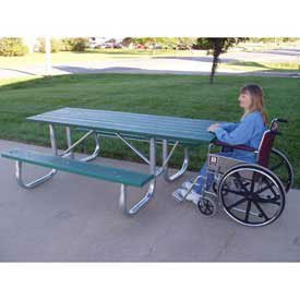6' Ada Galvanized Frame Picnic Table, Recycled Plastic, Green