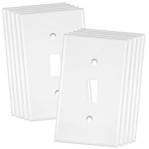 "ENERLITES Toggle Light Switch Wall Plate, Size 1-Gang 4.50"" x 2.76"", Unbreakable Polycarbonate Thermoplastic, 8811-W-10PCS, White (10 Pack)"