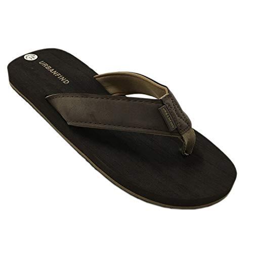 URBANFIND Men's Casual Flip Flops Suede Thongs Slippers Beach Slides Sandals Brown, 8 D(M) US