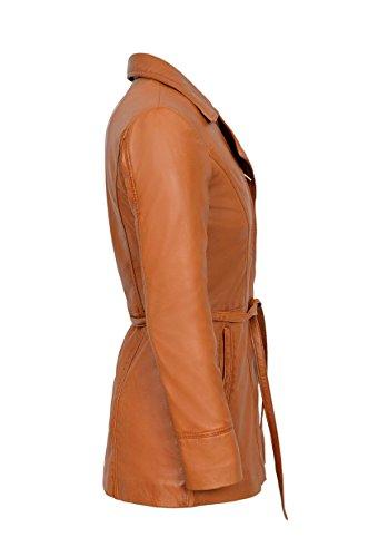 SARINA TRENCH Ladies Tan classico rivestimento di cuoio in vera pelle
